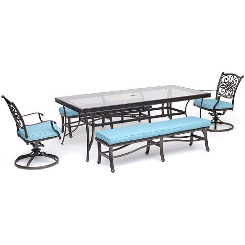 "Hanover Traditions 5-Piece Patio Dining Set in Blue with 2 Swivel Rockers, 2 Cushioned Benches, and a 42"" x 84"" Glass-Top Table - TRADDN5PCSW2GBN-BLU"