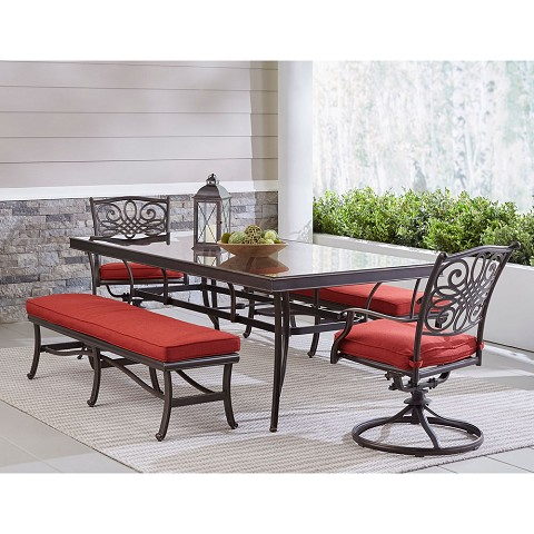 "Hanover Traditions 5-Piece Patio Dining Set in Red with 2 Swivel Rockers, 2 Cushioned Benches, and a 42"" x 84"" Glass-Top Table, TRADDN5PCSW2GBN-RED"