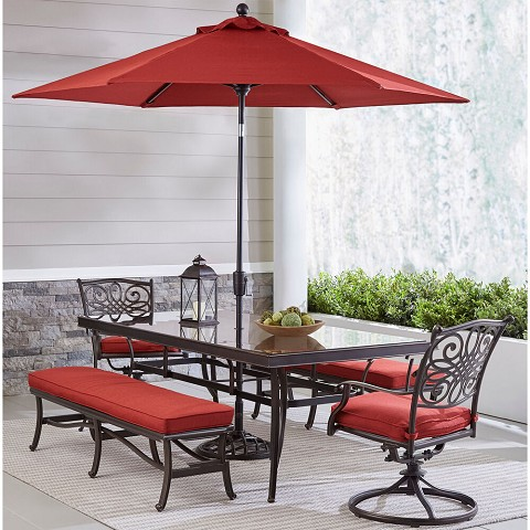 Hanover Traditions 5-Piece Patio Dining Set in Red with 2 Swivel Rockers, 2 Benches, Glass-Top Table, 11 Ft. Umbrella and Stand, TRADDN5PCSW2GBN-SU-R