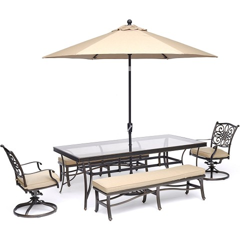 Hanover Traditions 5-Piece Patio Dining Set in Tan with 2 Rockers, 2 Benches, Glass-Top Table, and an 11 Ft. Umbrella with Stand - TRADDN5PCSW2GBN-SU-T
