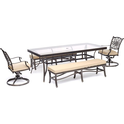 "Hanover Traditions 5-Piece Patio Dining Set in Tan with 2 Swivel Rockers, 2 Cushioned Benches, and a 42"" x 84"" Glass-Top Table - TRADDN5PCSW2GBN-TAN"