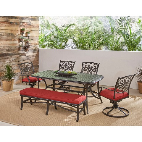 "Hanover Traditions 6-Piece Dining Set in Red with 4 Swivel Rockers, a Cushioned Bench, and a 38"" x 72"" Cast-Top Table, TRADDN6PCSW4BN-RED"