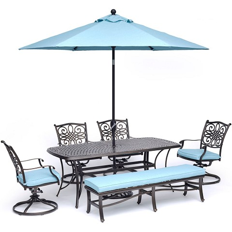 "Hanover Traditions 6-Piece Dining Set in Blue with 4 Swivel Rockers, 1 Bench, a 38"" x 72"" Cast-Top Table, 9 Ft. Umbrella and Stand - TRADDN6PCSW4BN-SU-B"