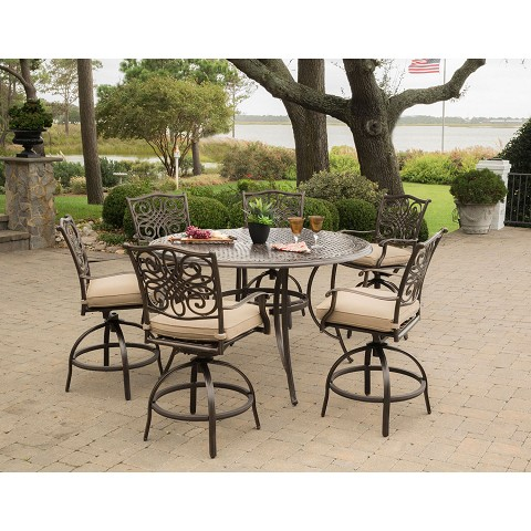 Hanover Traditions 7-Piece High-Dining Set in Tan with 6 Swivel Chairs and a 56 In. Cast-top Table - TRADDN7PCBR