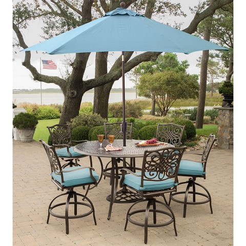 Hanover Traditions 7-Piece High-Dining Set in Blue with 9 Ft. Table Umbrella and Stand - TRADDN7PCBR-SU-B