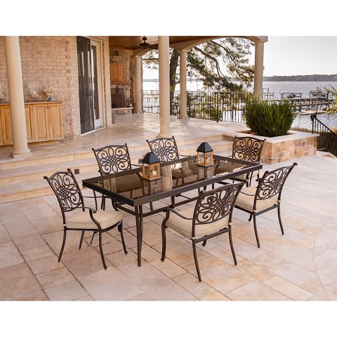 Traditions 7PC Dining Set in Tan with Extra Large Glass-Top Dining Table - TRADDN7PCG