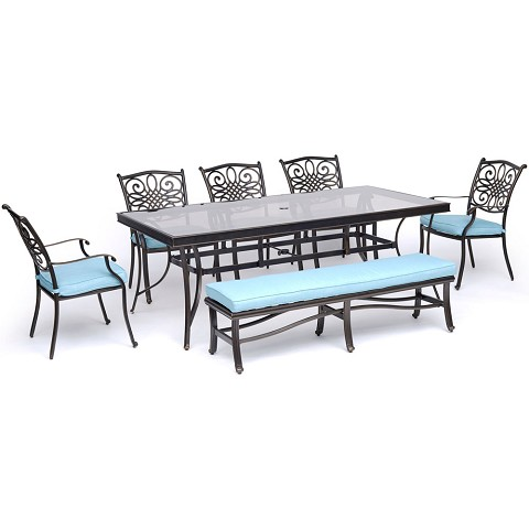 "Hanover Traditions 7-Piece Outdoor Dining Set in Blue with 5 Dining Chairs, a Cushioned Bench, and a 42"" x 84"" Glass-Top Table - TRADDN7PCGBN-BLU"