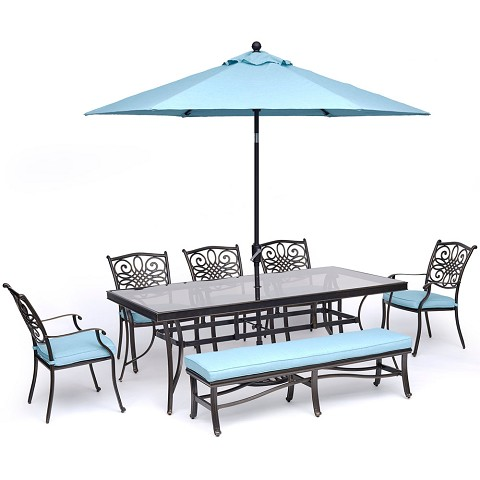 "Hanover Traditions 7-Piece Dining Set in Blue with 5 Chairs, Bench, a 42"" x 84"" Glass-Top Table, and an 11 Ft. Umbrella with Stand - TRADDN7PCGBN-SU-B"