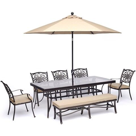 "Hanover Traditions 7-Piece Dining Set in Tan with 5 Chairs, Bench, a 42"" x 84"" Glass-Top Table, and an 11 Ft. Umbrella with Stand - TRADDN7PCGBN-SU-T"