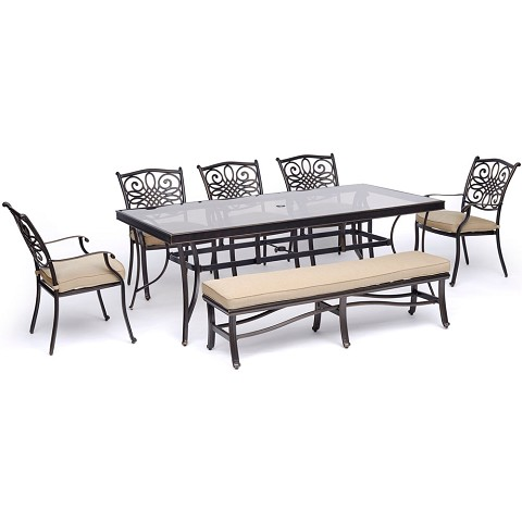 "Hanover Traditions 7-Piece Outdoor Dining Set in Tan with 5 Dining Chairs, a Cushioned Bench, and a 42"" x 84"" Glass-Top Table - TRADDN7PCGBN-TAN"