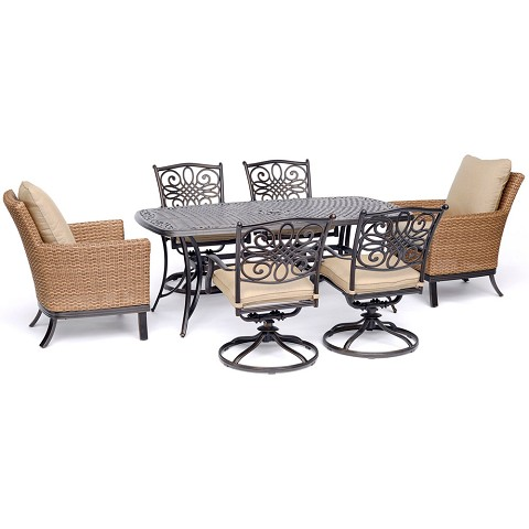 "Hanover Traditions 7-Piece Dining Set with 2 Woven Arm Chairs, 4 Swivel Rockers, and a 38"" x 72"" Cast-Top Table - TRADDN7PCOS2-SW4"