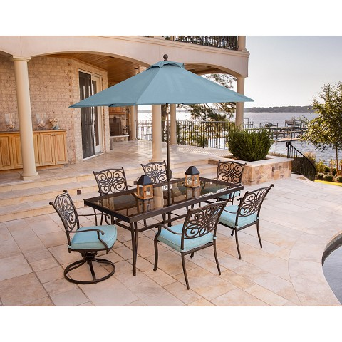 Traditions 7PC Dining Set in Blue with XL Glass-Top Table, Umbrella, and Stand - TRADDN7PCSW2G-SU-B