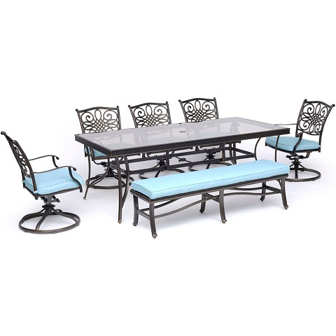 "Hanover Traditions 7-Piece Outdoor Dining Set in Blue with 5 Swivel Rockers, a Cushioned Bench, and a 42"" x 84"" Glass-Top Table - TRADDN7PCSW5GBN-BLU"