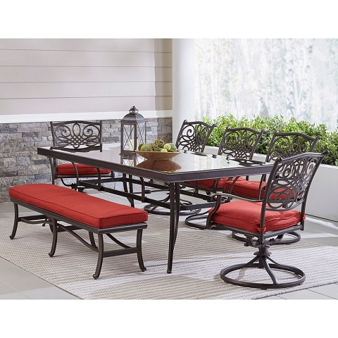 "Hanover Traditions 7-Piece Outdoor Dining Set in Red with 5 Swivel Rockers, a Cushioned Bench, and a 42"" x 84"" Glass-Top Table, TRADDN7PCSW5GBN-RED"