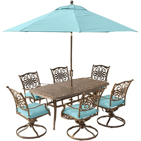 Traditions 7PC Dining Set in Blue with 72 x 38 in. Cast-top Table, 9 Ft. Umbrella, and Stand - TRADDN7PCSW6-SU-B