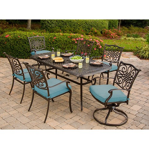Traditions 7PC Dining Set in Blue - TRADDN7PCSW-BLU