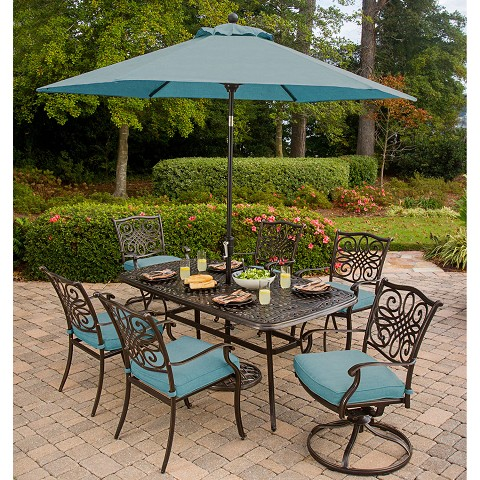 Traditions 7PC Dining Set in Blue with 72 x 38 In. Cast-top Table, Umbrella, and Stand - TRADDN7PCSW-B-SU