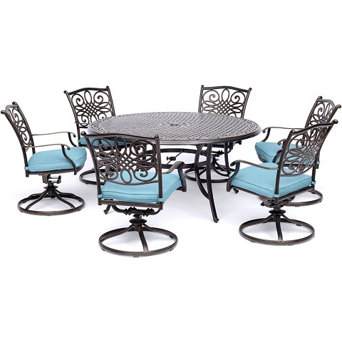 Hanover Traditions 7-Piece Dining Set in Blue with a 60 In. Round Cast-top Table and Six Swivel Rockers - TRADDN7PCSWRD6-BLU