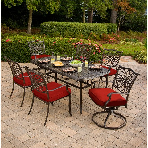 Hanover Traditions 7-Piece Dining Set in Red with Two Swivel Rockers, Four Dining Chairs, and a 72 x 38 in. Cast-top Table - TRADDN7PCSW-RED