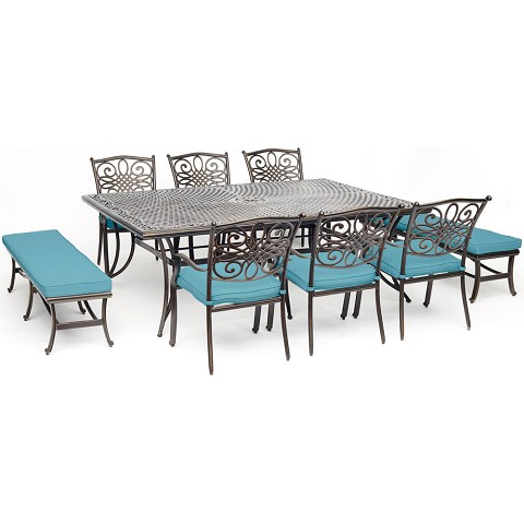 "Hanover Traditions 9-Piece Dining Set in Blue with 6 Dining Chairs, 2 Benches, and a 60"" x 84"" Cast-Top Dining Table - TRADDN9PCBN-BLU"