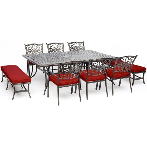 "Hanover Traditions 9-Piece Dining Set in Red with 6 Dining Chairs, 2 Benches, and a 60"" x 84"" Cast-Top Dining Table, TRADDN9PCBN-RED"