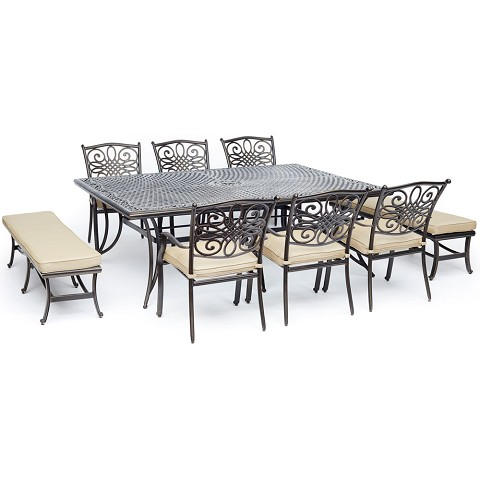 "Hanover Traditions 9-Piece Dining Set in Tan with 6 Dining Chairs, 2 Benches, and a 60"" x 84"" Cast-Top Dining Table - TRADDN9PCBN-TAN"