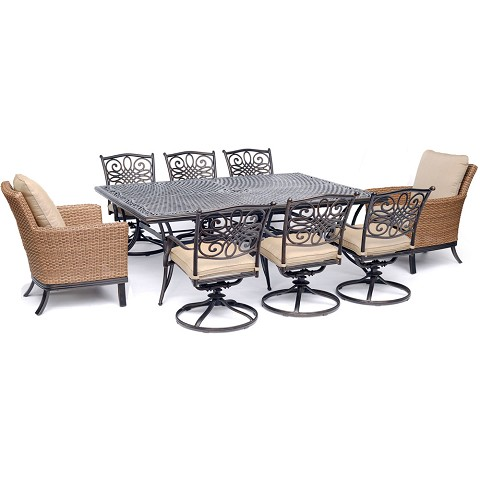 "Hanover Traditions 9-Piece Dining Set with 2 Woven Arm Chairs, 6 Swivel Rockers, and a 60"" x 84"" Cast-Top Table - TRADDN9PCOS2-SW6"