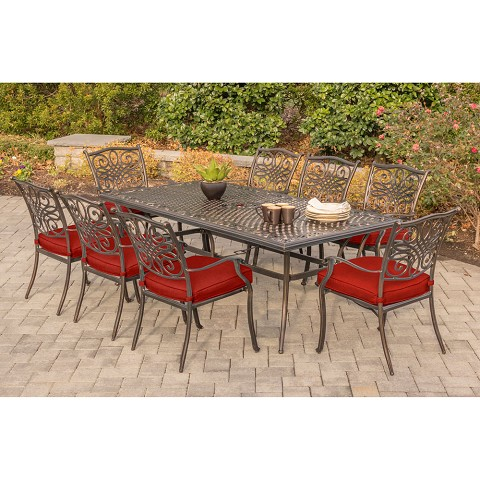 Hanover Traditions 9-Piece Dining Set in Red - TRADDN9PC-RED