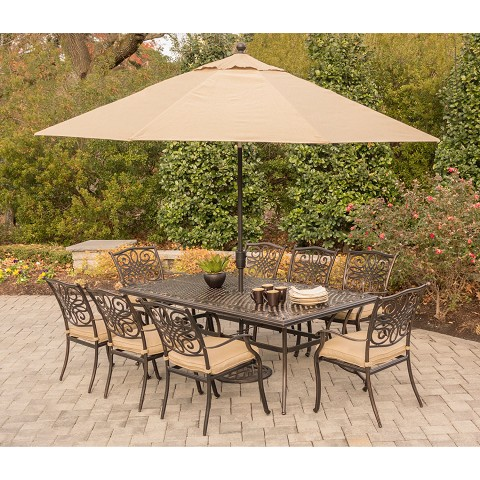 Traditions 9PC Dining Set in Tan with an XL Cast-Top Dining Table, 11 Ft. Umbrella and Base - TRADDN9PC-SU