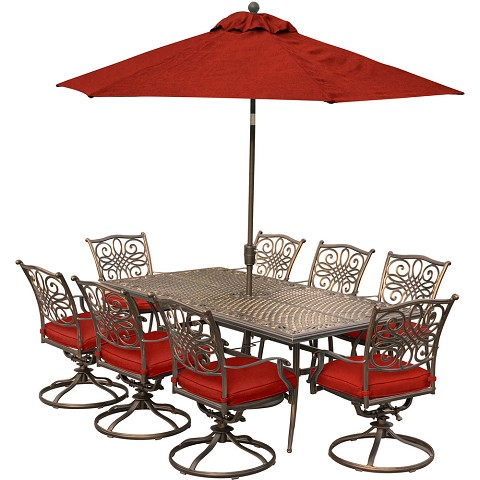 Hanover Traditions 9-Piece Dining Set in Red with Eight Swivel Dining Chairs, an XL Dining Table, 11 Ft. Table Umbrella and Stand - TRADDN9PCSW8-SU-R