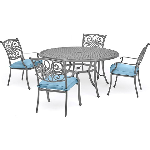 "Hanover Traditions 5-Piece Dining Set in Blue with 4 Chairs and a 48"" Round Table in a Gray Finish - TRADDNG5PC-BLU"