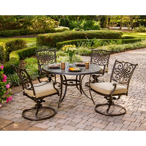Traditions 5PC Dining Set with Four Swivel Chairs and 48 In. Cast-top Table - TRADITIONS5PCSW