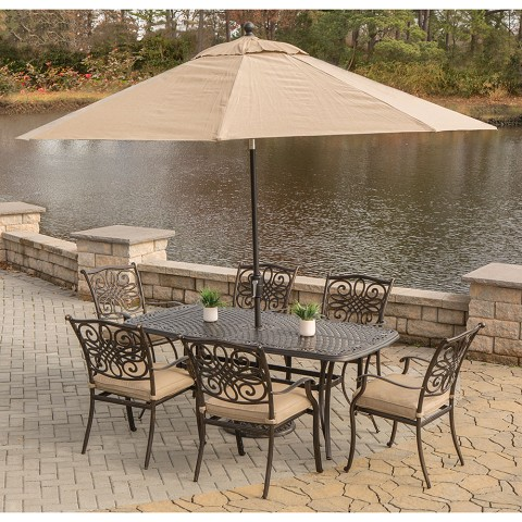 Traditions 7PC Dining Set in Tan with Cast-Top Table, 9 Ft. Umbrella, and Stand - TRADITIONS7PC-SU