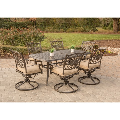 Traditions 7PC Dining Set with 6 Swivel Rockers and Cast-top Table - TRADITIONS7PCSW-6