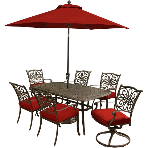 Hanover Traditions 7-Piece Dining Set in Red with a 72 x 38 In. Cast-top Table, 9 Ft. Table Umbrella and Stand - TRADITIONS7PCSW-SU-R