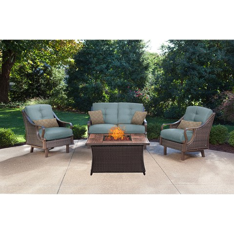 Ventura 4PC Fire Pit Chat Set with Wood Grain Tile Top in Ocean Blue - VEN4PCFP-BLU-WG