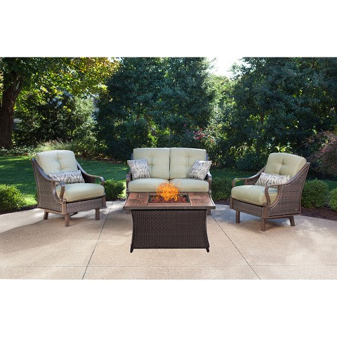 Ventura 4PC Fire Pit Chat Set with Wood Grain Tile Top in Vintage Meadow - VEN4PCFP-GRN-WG