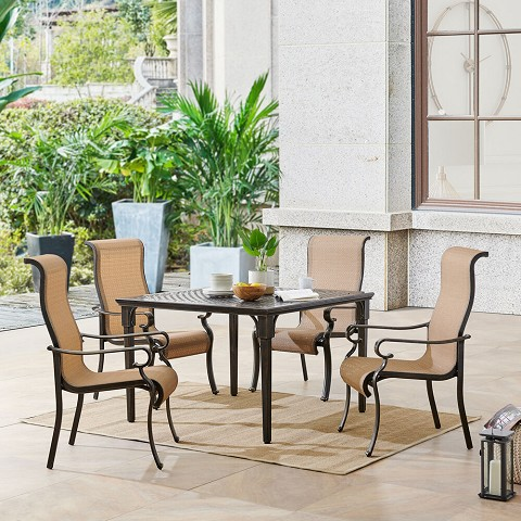 Hanover Brigantine 5-Piece Outdoor Dining Set with 4 Contoured-Sling Chairs and a 42-In. Square Cast-Top Table, BRIGDN5PCSQ