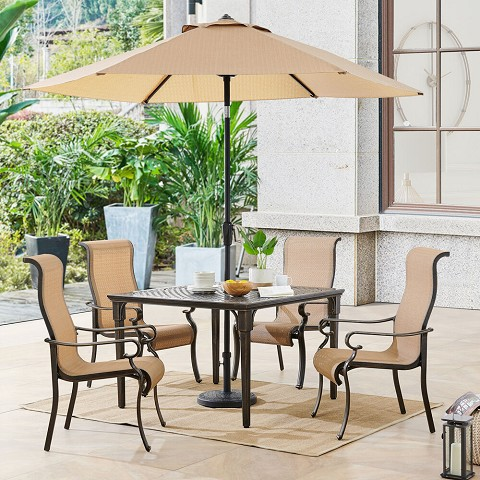 Hanover Brigantine 5-Piece Outdoor Dining Set with 4 Contoured-Sling Chairs, 42-In. Square Cast-Top Table, 9-Ft. Umbrella, and Base, BRIGDN5PCSQ-SU