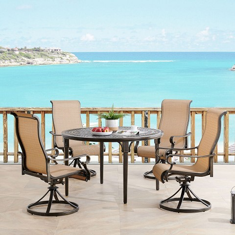 Hanover Brigantine 5-Piece Outdoor Dining Set with 4 Contoured-Sling Swivel Rockers and a 50-In. Round Cast-Top Table, BRIGDN5PCSWRD
