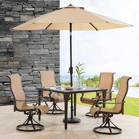Hanover Brigantine 5-Piece Outdoor Dining Set with 4 Sling Swivel Rockers, 42-In. Square Cast-Top Table, 9-Ft. Umbrella, and Base, BRIGDN5PCSWSQ-SU