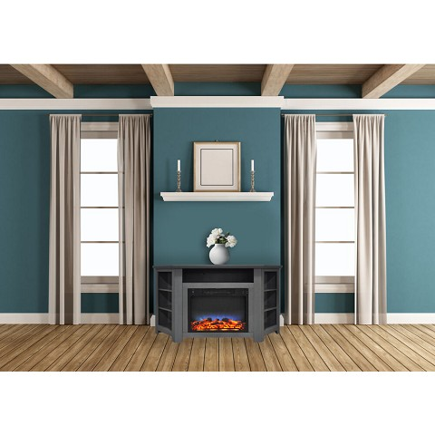 Cambridge Stratford 56 In. Electric Corner Fireplace in Gray with LED Multi-Color Display - CAM5630-1GRYLED