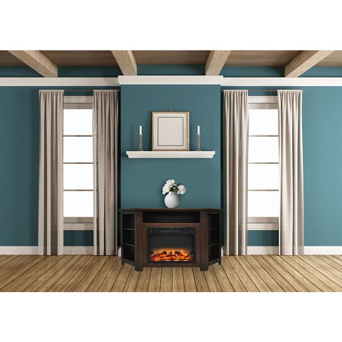 Cambridge Stratford 56 In. Electric Corner Fireplace in Walnut with Enhanced Fireplace Display - CAM5630-1WALLG2