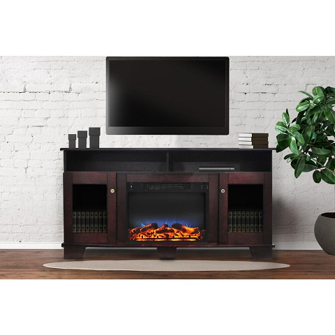 Cambridge Savona 59 In. Electric Fireplace in Mahogany with Entertainment Stand and Multi-Color LED Flame Display - CAM6022-1MAHLED