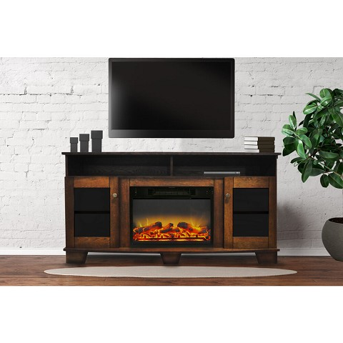 Cambridge Savona 59 In. Electric Fireplace in Walnut with Entertainment Stand and Enhanced Log Display - CAM6022-1WALLG2