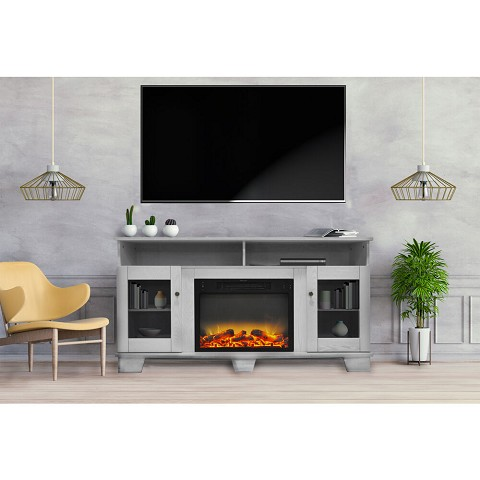 Cambridge Savona 59 In. Electric Fireplace in White with Entertainment Stand and Enhanced Log Display - CAM6022-1WHTLG2