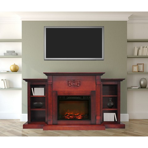 Cambridge Sanoma 72 In. Electric Fireplace in Cherry with Built-in Bookshelves and 1500W Charred Log Insert - CAM7233-1CHR