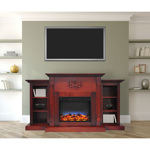 Cambridge Sanoma 72 In. Electric Fireplace in Cherry with Bookshelves and a Multi-Color LED Flame Display - CAM7233-1CHRLED
