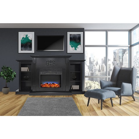 Cambridge Sanoma 72 In. Electric Fireplace in Black Coffee with Built-in Bookshelves and a Multi-Color LED Flame Display - CAM7233-1COFLED