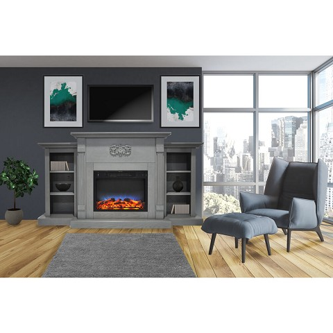 Cambridge Sanoma 72 In. Electric Fireplace in Gray with Built-in Bookshelves and a Multi-Color LED Flame Display - CAM7233-1GRYLED